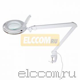 Лупа на струбцине круглая 3X с подстветкой и сенсорным регулятором 60 LED, белая REXANT